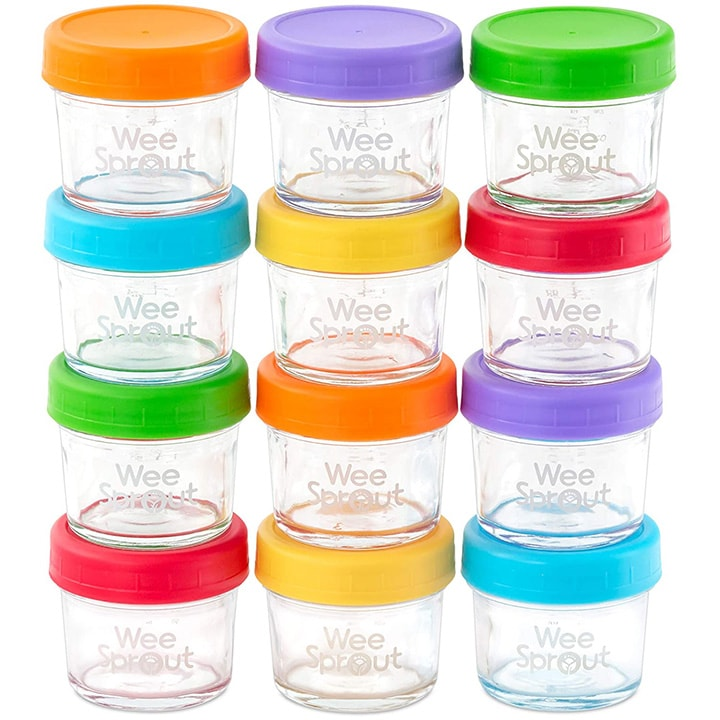 Set of 12 glass jars for storing baby food.