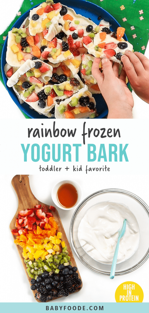 Graphic for post - rainbow frozen yogurt bark - toddler and kid favorite - high in protein. Image is of kids hand reaching into a pile of frozen yogurt bark and the ingredients spread out of the yogurt bark.