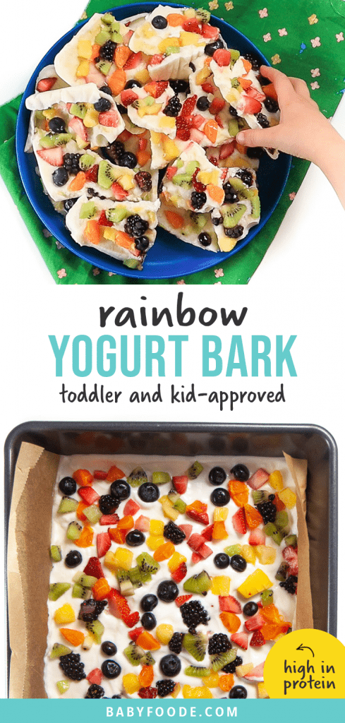 Graphic for post - rainbow frozen yogurt bark - toddler and kid favorite - high in protein. Image is of kids hand reaching into a pile of frozen yogurt bark and a tray full of the yogurt bark.
