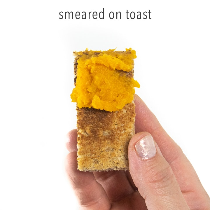 sweet potato puree smeared on a piece of toast