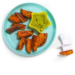 plate full of sweet potatoes for baby-led weaning.