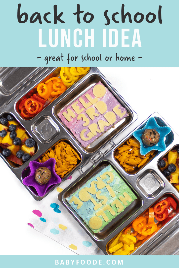 Graphic for post - back to school lunch idea - great for school or home. With an image of 2 lunches boxes filled with healthy foods for kids.