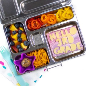 A back to school lunch that is full of healthy and colorful foods.