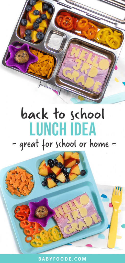 Graphic for post - back to school lunch idea - great for school or home. With an images of a school lunch box and a teal plate filled with a fun lunch for kids.