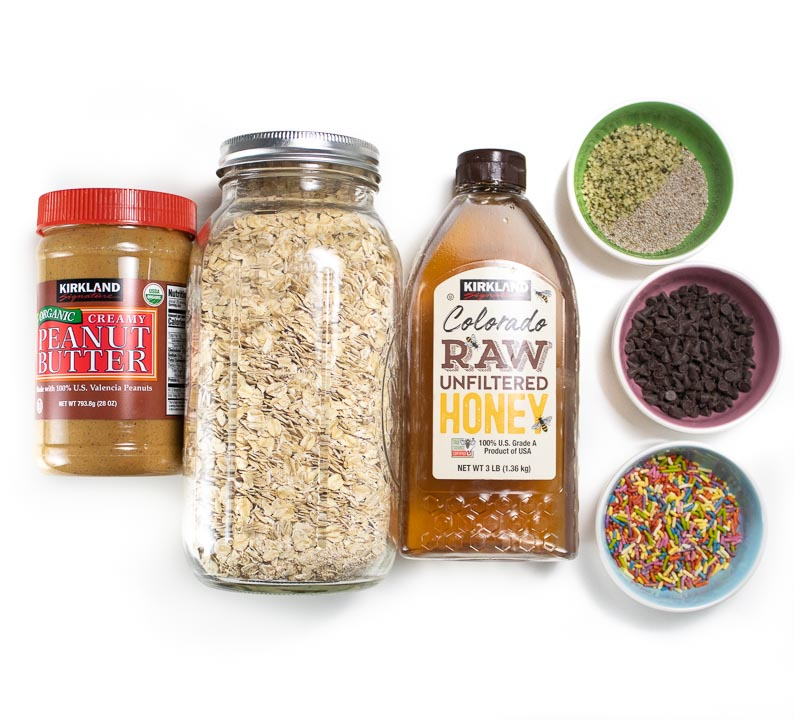 Spread of ingredients for energy balls.