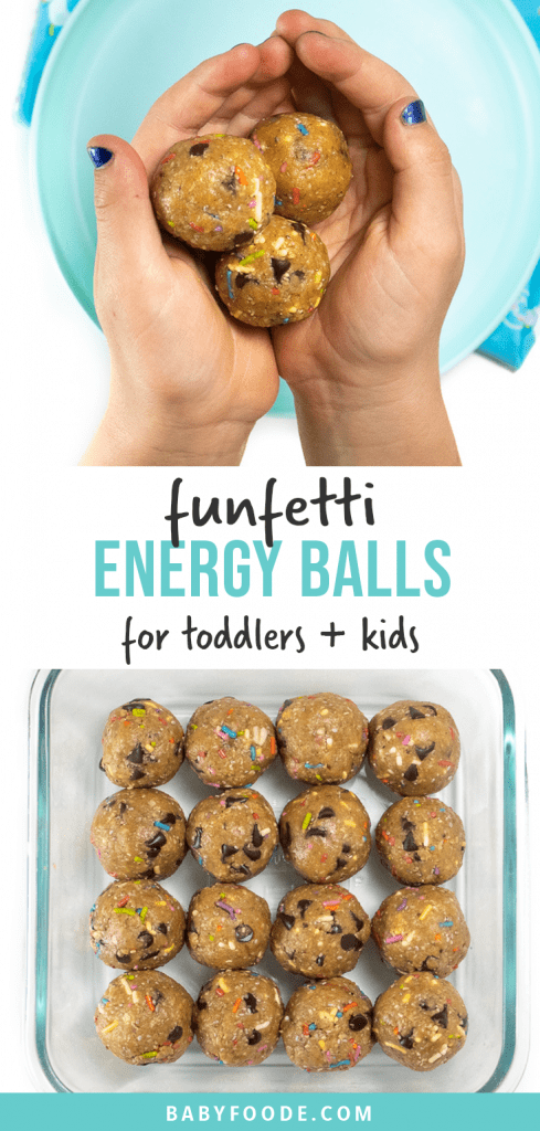 Graphic for post - funfetti energy balls - great snack for toddlers and kids with a kids hand holding a bowl of energy balls as well as an image of a bowl of prepped energy balls.
