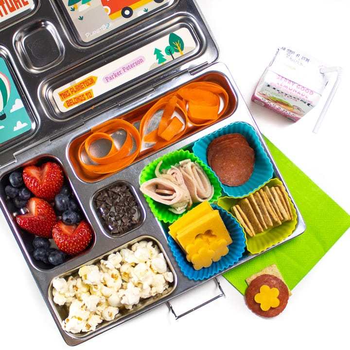 School lunch box packed with a homemade lunchable the tis healthy.
