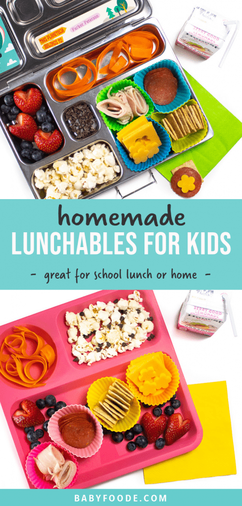 Graphic for post - homemade lunchables for kids - great for school lunch or home. Image is of this kid lunch in a bento box as well as a plate for lunch at home.