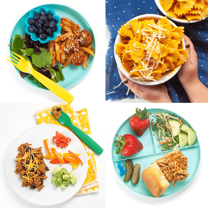 Grid of healthy dinners for toddlers and kids.