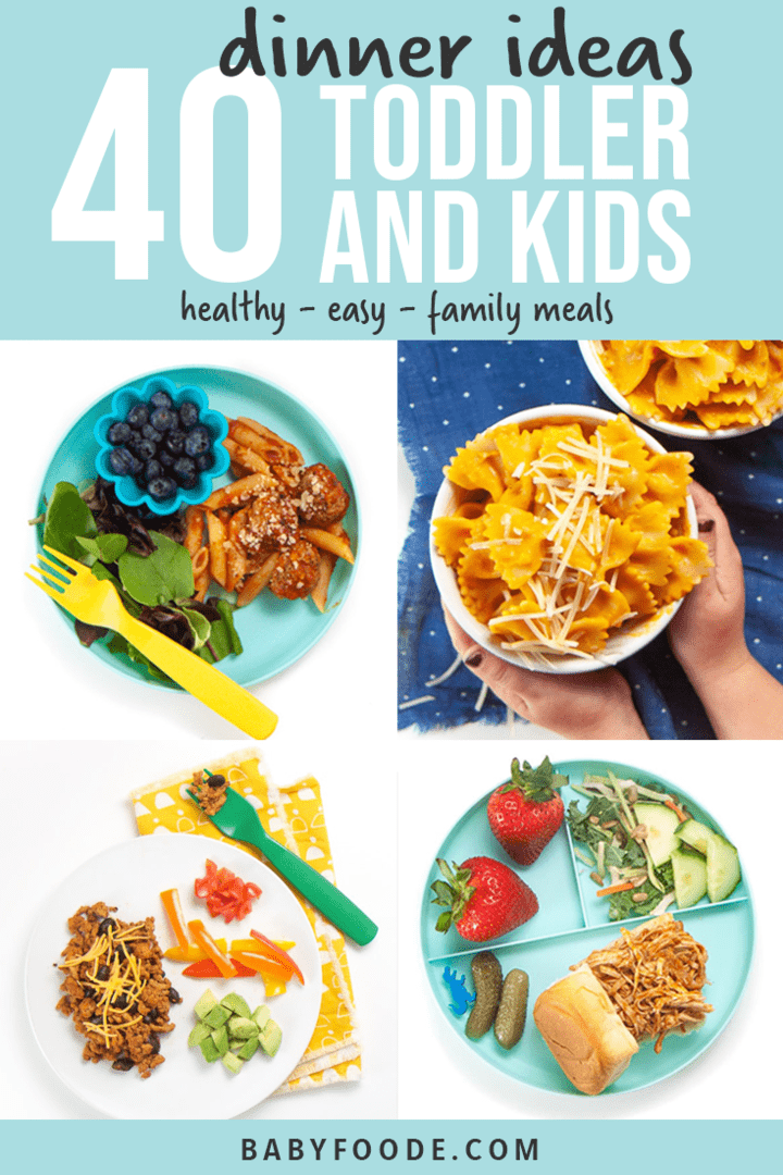 graphic for post - 40 dinner ideas for toddler and kids - healthy - easy - family meal. Images in a grid of plates filled with meals for the entire family.
