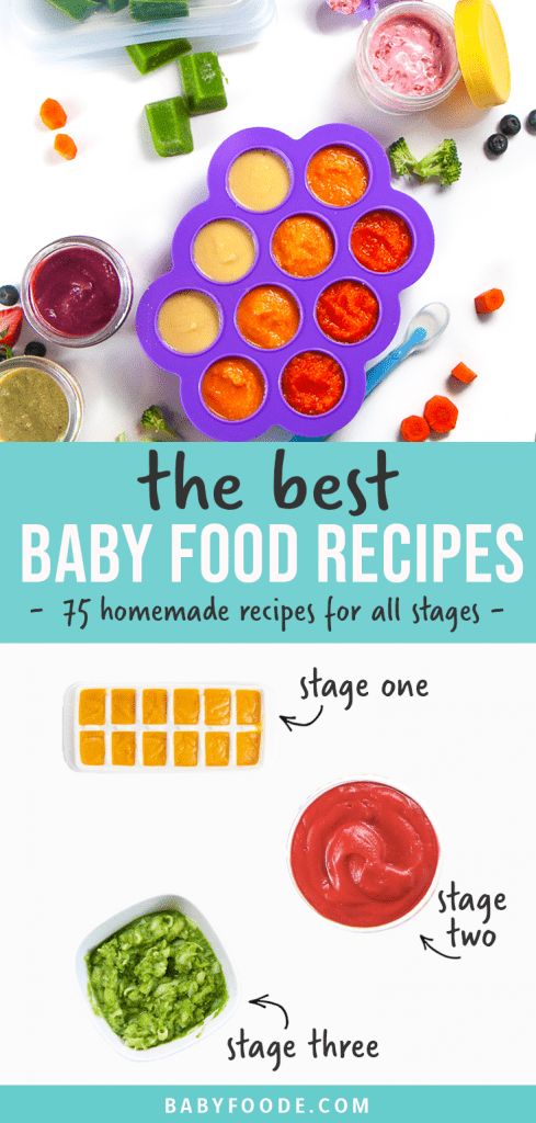 Graphic for post - the best baby food recipes - 75 homemade recipes for all stages - stage one, stage two and stage three. Images are of a spread of baby foods as well as a graphic showing the different stages.