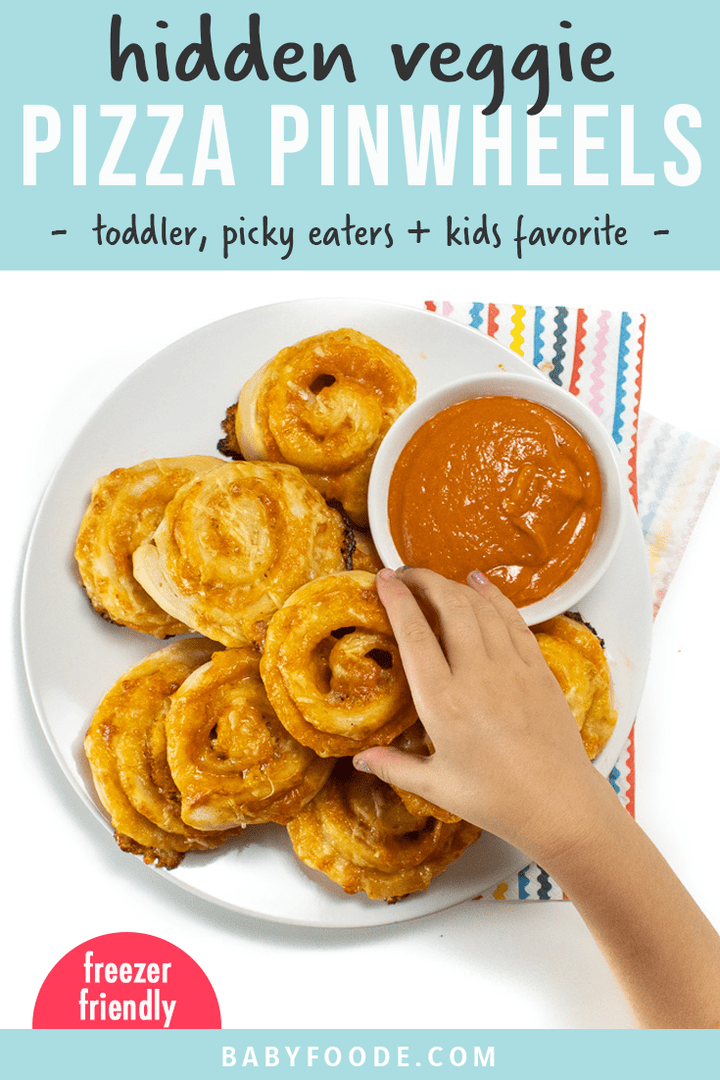 Graphic for post - hidden veggie pizza pinwheels - toddler, picky eater and kid favorite. Small kids hands reaching for a pinwheel on a white plate.