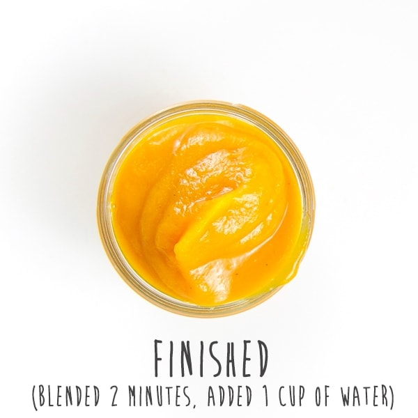 finished baby food puree in a glass jar