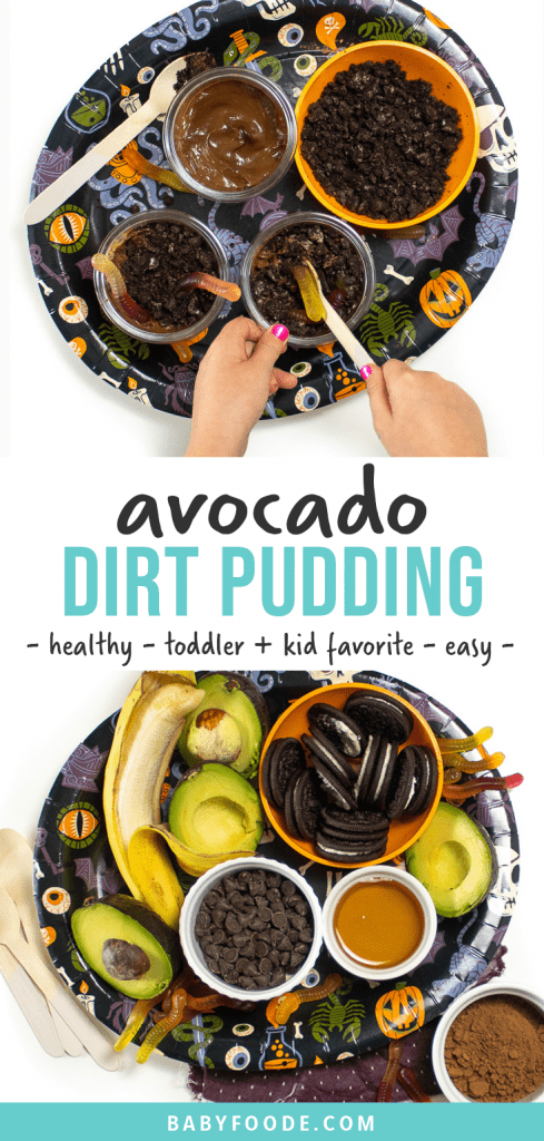 Graphic for Post - avocado Dirt Pudding - healthy - toddler and kid favorite - easy. Hands reaching into a spooky halloween tray putting worms into a dirt cup for dessert.