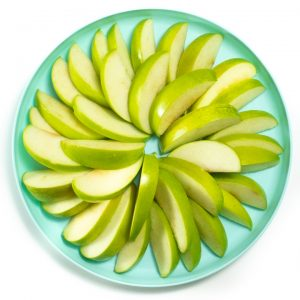 Plate of apple slices.