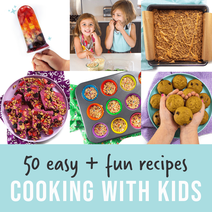 post graphic - 50 easy and fun recipes for cooking with kids. Images in a grid of fun and colorful recipes to make your kids.