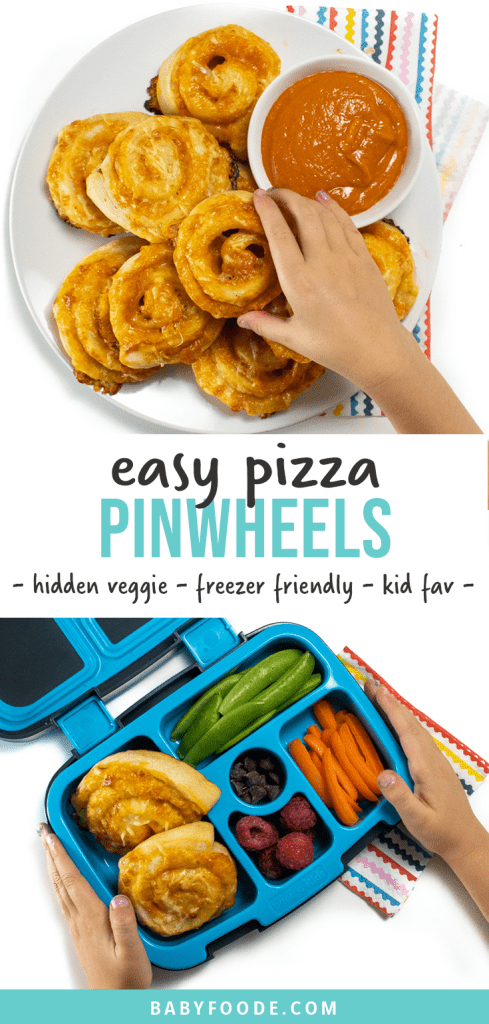 Graphic for Post- easy pizza pinwheels - hidden veggies, freezer friendly, kid fav. With images of these easy and veggie filled pizza rollups on a plate and in a lunchbox.