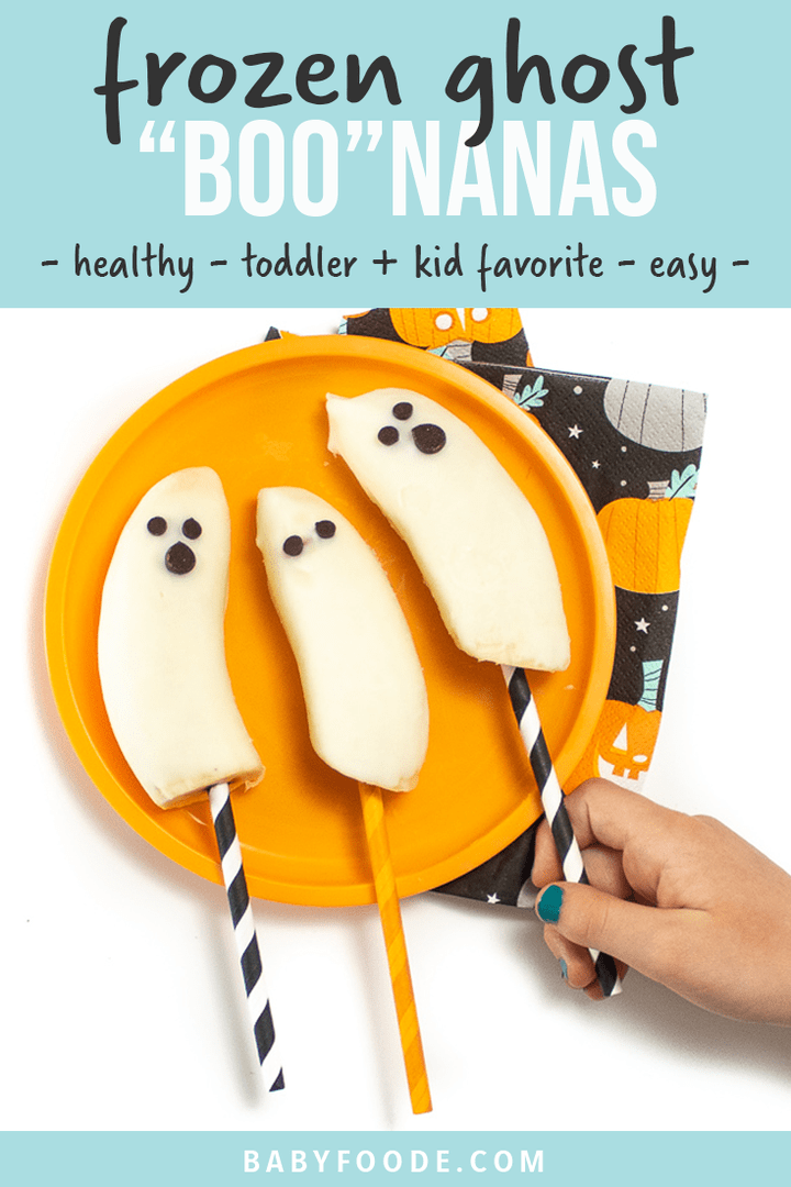 Graphic for Post - frozen ghost bananas - healthy - toddler and kid favorite - easy. Image is of kids hand reaching to grab a frozen ghost banana.