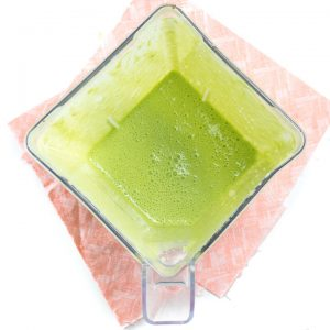 blender full of green monster yogurt.