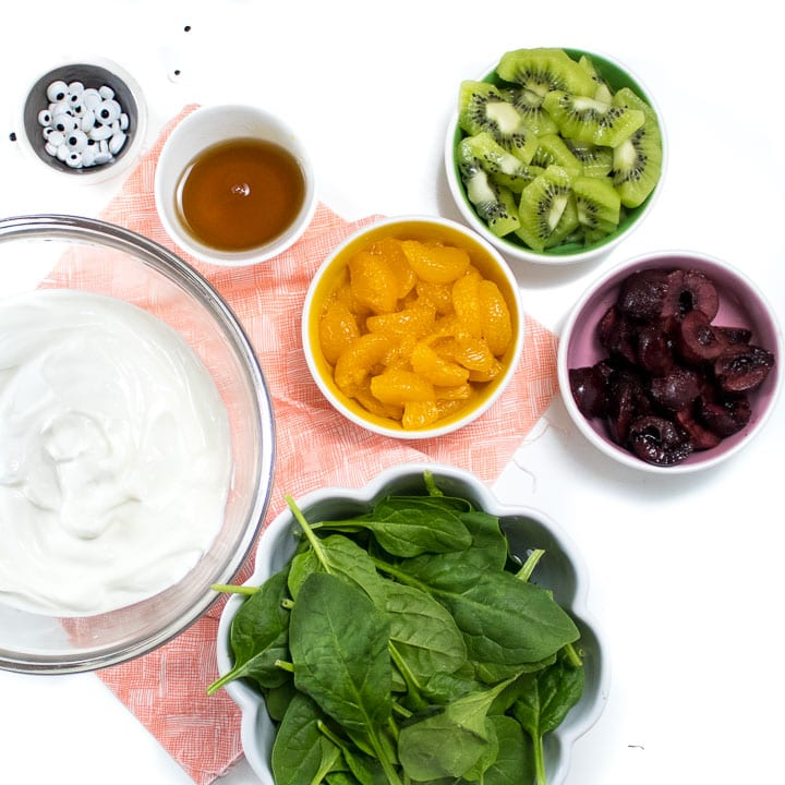 Ingredients for monster yogurt bark - fresh fruit and veggies.