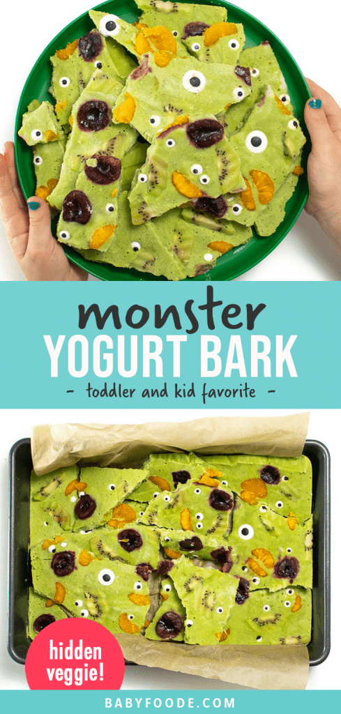 Graphic for post - monster yogurt bark - toddler and kid favorite. Images are of a kids holding a plate full of healthy yogurt bark for a fun halloween snack or treat.
