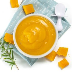 butternut squash puree in a white bowl on top of a blue napkin.