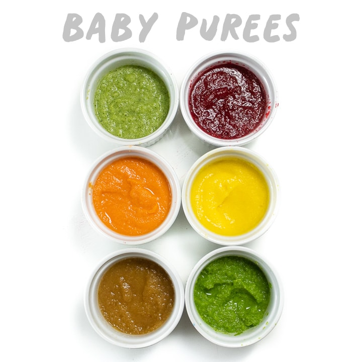 Baby purees - 6 bowls with smooth baby food puree inside.