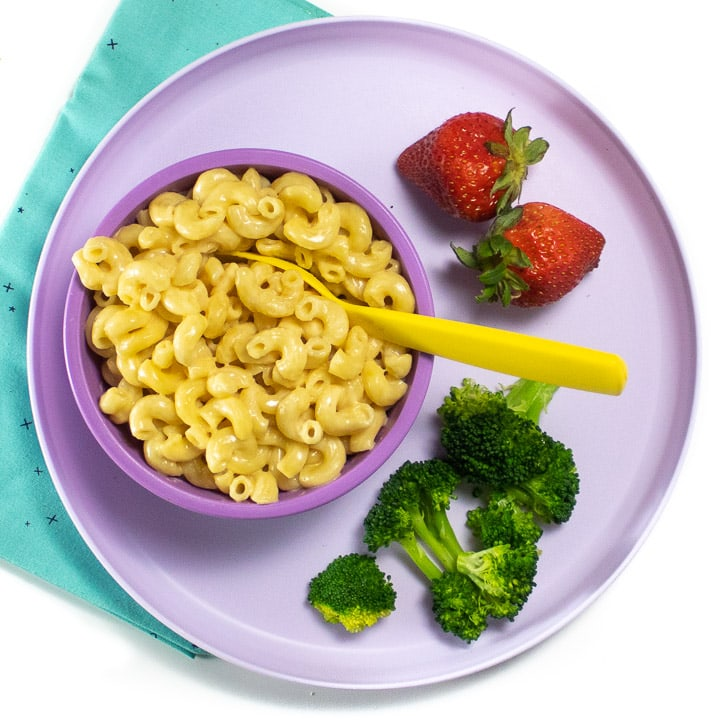 Kids dinner plate with instant pot Mac and cheese ready for a quick and easy family dinner.