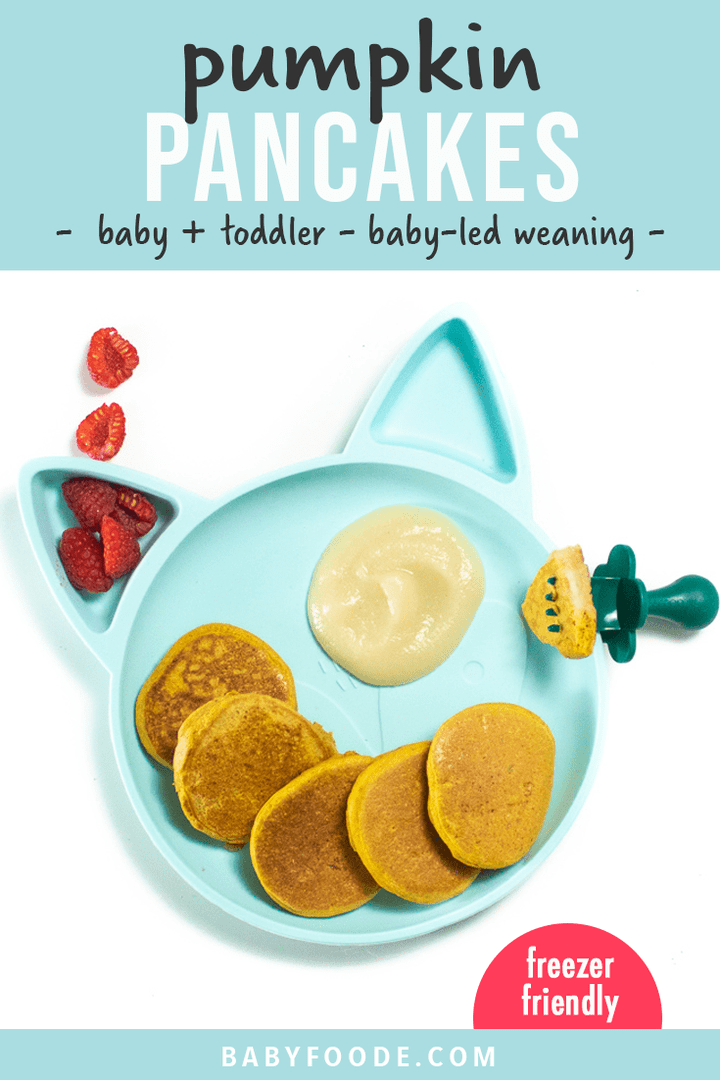 Graphic for post - pumpkin pancakes for baby and toddlers - baby-led weaning. Images are of a kids panda plate filled with small pumpkin pancakes.