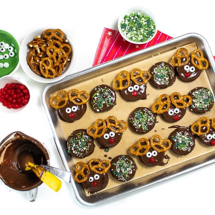 Making reindeer cookies