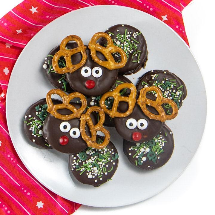 Plate of reindeer cookies.