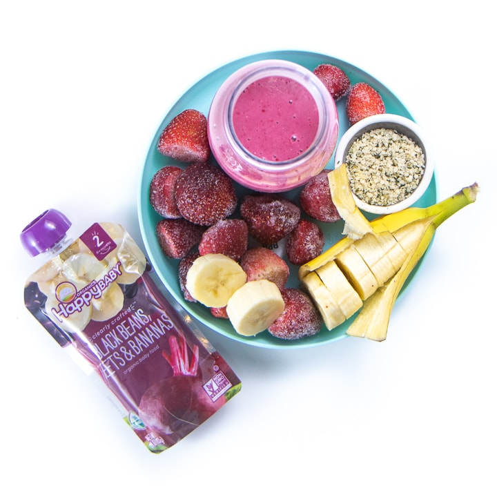 Plate full of healthy ingredients for a smoothie for baby.