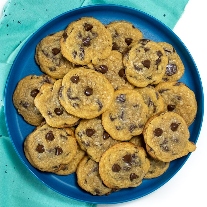 Plate of whole wheat chocolate chips Cookies for toddlers and kids.
