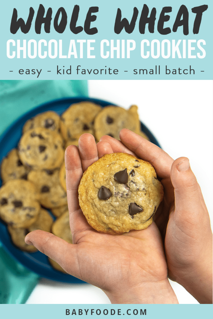 Graphic for Post - whole wheat chocolate chip cookies - easy - kid favorite - small batch. Images are of a small hand holding a cookie as well as a cooking rack with a pile of cookies on top.