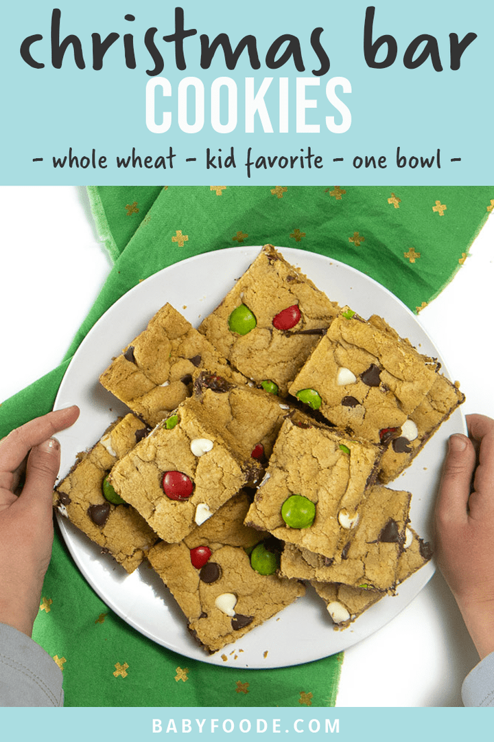 graphic for post - Christmas Bar Cookies - whole wheat - kid favorite- one bowl. Images are of a pan of cooked cookie bars and a hand holding one up.