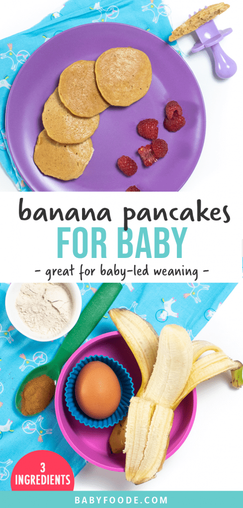 Graphic for post - banana pancakes for baby. Great for baby-led weaning. Image is of a purple plate of banana pancakes and sliced raspberries and a spread of the ingredients used to make these pancakes.