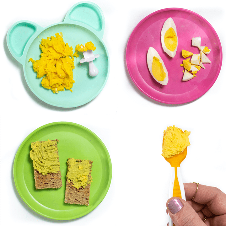 Grid of 4 images of egg recipes for baby on colorful plates.