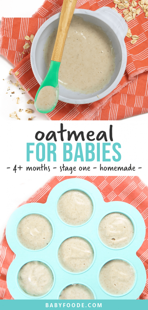 Graphic for post - oatmeal for babies - 4+ months - stage one - homemade. Image is of a gray baby bowl filled with a smooth oatmeal puree for baby as well as a freezer tray filled with oatmeal cereal for the freezer.