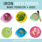 Graphic for Post- iron rich foods baby, toddler and kids - complete guide and over 50 recipes. Images are in a grid on colorful kids plates with iron rich foods.