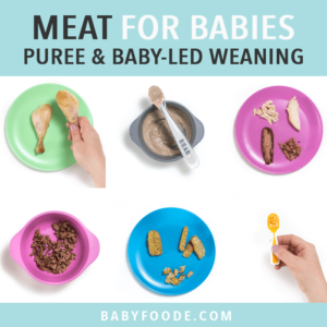 Graphic for post- meat for baby - purees or baby-led weaning. Images are in a grid of colorful kid plates with meat on them.