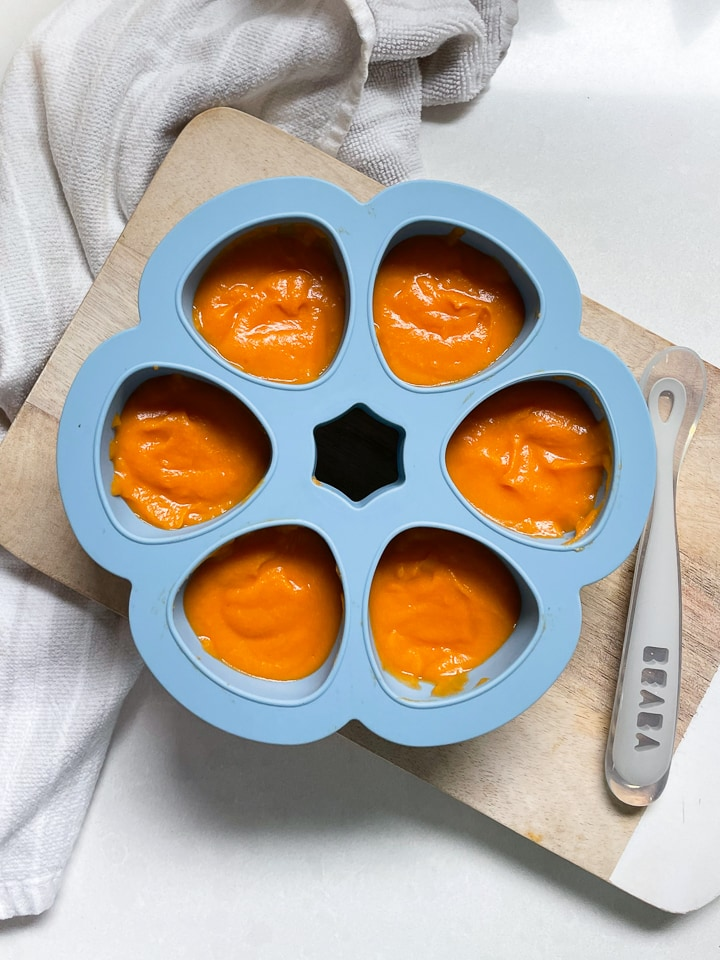Beaba multiportions filled with sweet potato puree.