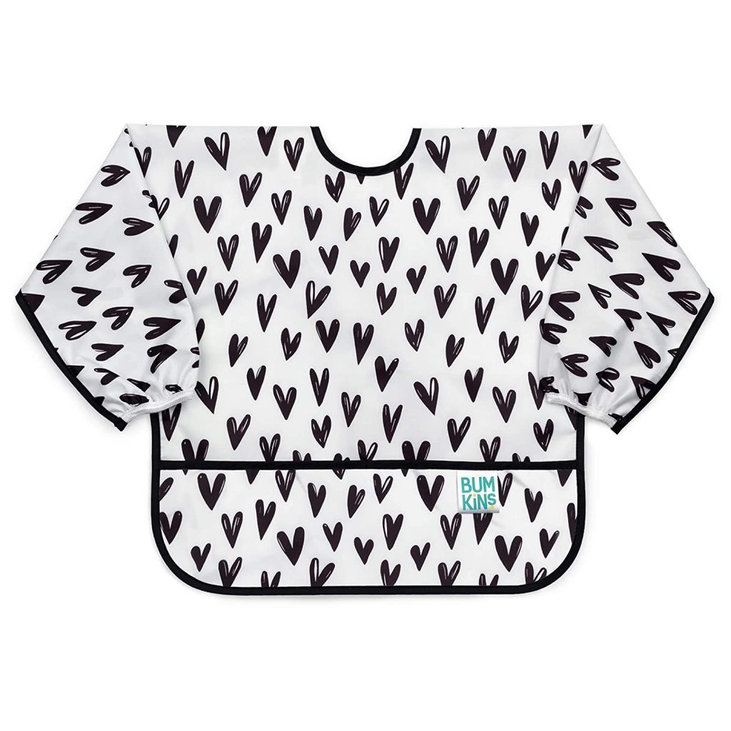 white bib with hearts that goes over whole baby.