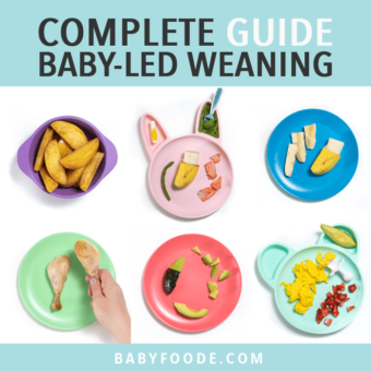 Graphic for post - complete guide baby led weaning - great for 6+ months. Images are of a baby self feeding an avocado as well as colorful plates in a grid of how to cut and serve baby food.