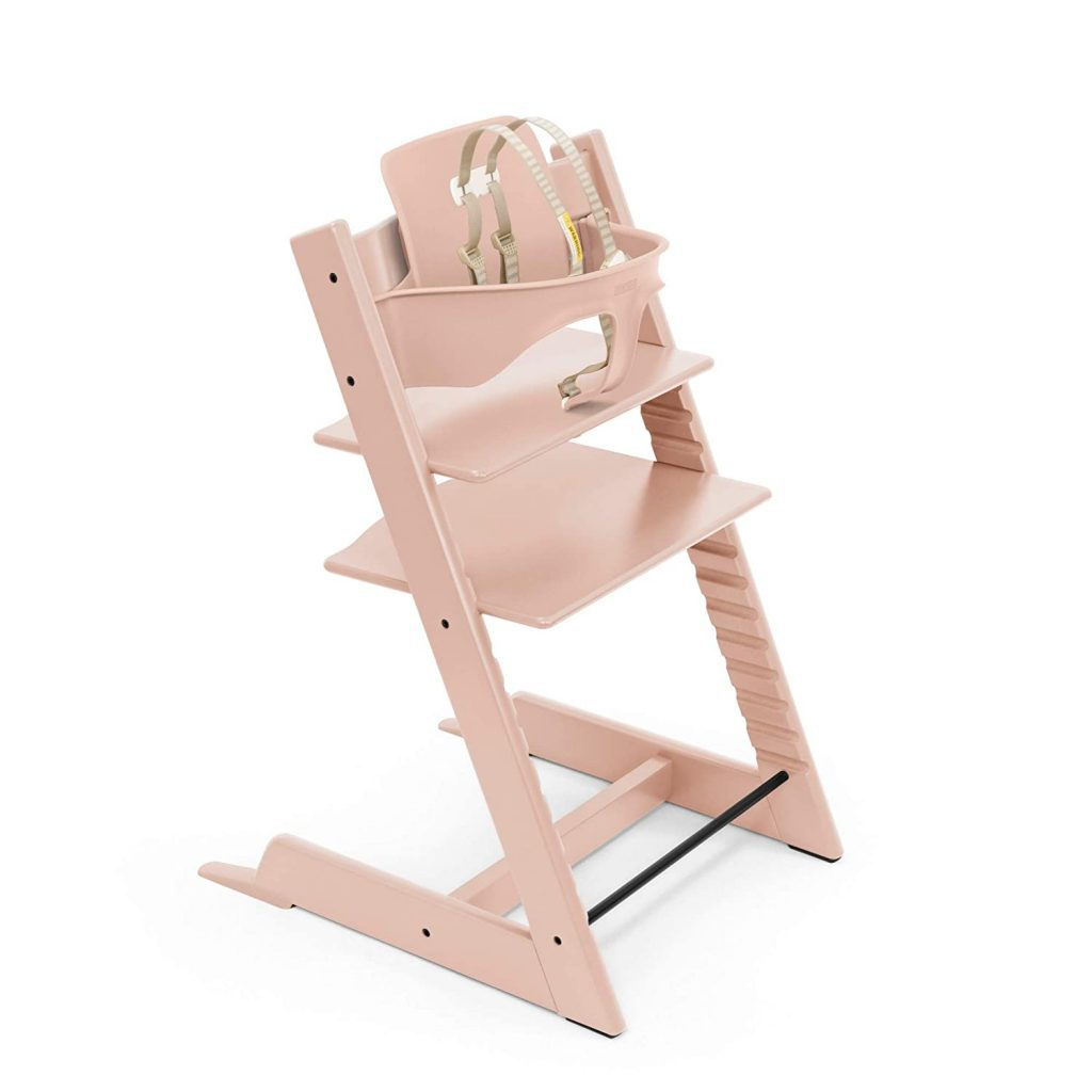 pink high chair for baby.