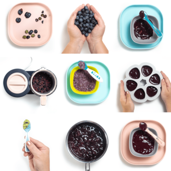 Grid of images of blueberries for baby - purees, whole and frozen. All are on baby plates that are pink and blue.