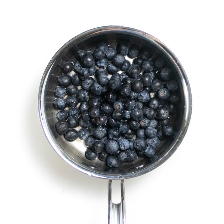 saucepan with blueberries inside.