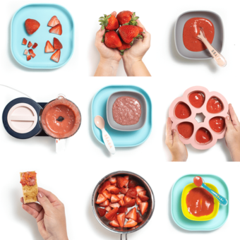 Grid of images with strawberry baby food.