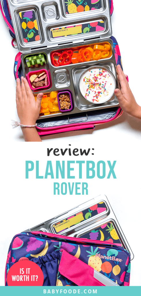 Graphic for post - Review Planetbox rover. Images are of a pair of young kids hands holding the metal box over the colorful carrying case as well as a carrying case with the planetbox rover sticking out.