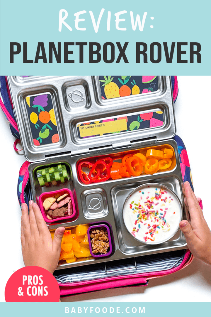 Graphic for post - Review Planetbox rover. Images are of a pair of young kids hands holding the metal box over the colorful carrying case.