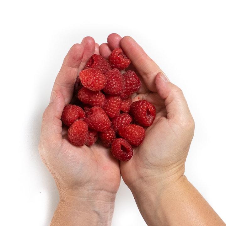 2 hands holding raspberries.